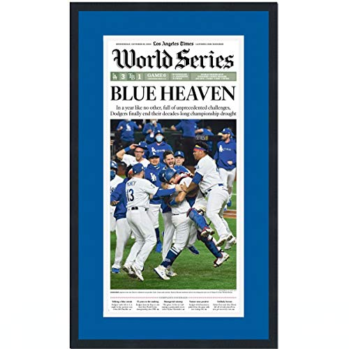 Framed Los Angeles LA Times Blue Heaven Dodgers 2020 World Series Champions 17x27 Baseball Newspaper Cover Photo Professionally Matted