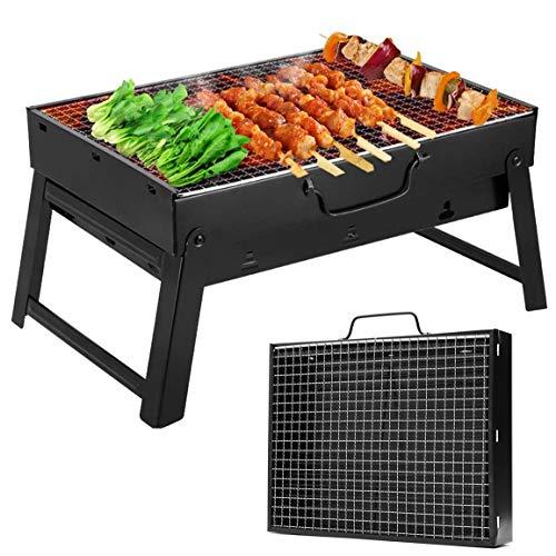 Barbecue Carbone, Barbecue Portatile, Mini BBQ Carbonella, BBQ Grill Pieghevole con Guanti Barbecue, Pinza, Spruzzatore di Olio per 3-5 Persone Cucinare all