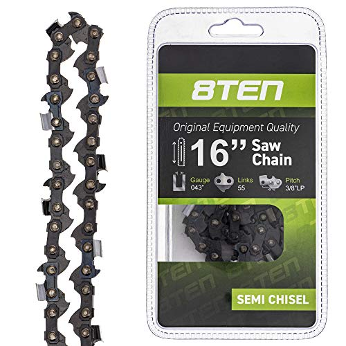 8TEN Chainsaw Chain for Stihl 16 inch Bar .043 Gauge 3/8 Pitch 55 Drive Links for MS170 MS180 017 009 019 023 PM400