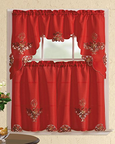 All American Collection New 3pc Christmas Holiday Design Embroidered Kitchen Curtain Set (Candles, Red/Red)