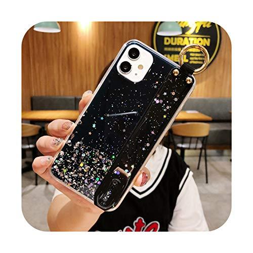 Bling Glitter correa de muñeca caso del teléfono para iPhone 12 11 Pro Max XR XS Max X 7 8 6 6SPlus 12 Mini suave epoxi transparente contraportada T9-para iPhone 11Pro Max
