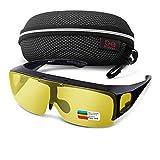 Br'Guras 夜間 オーバーサングラス サングラス 運転用サングラス 偏光 UV400 紫外線カット メガネの上から掛け 跳ね上げ式 防風防砂 くも/雨天 自転車/釣り/ランニング (イエロー)