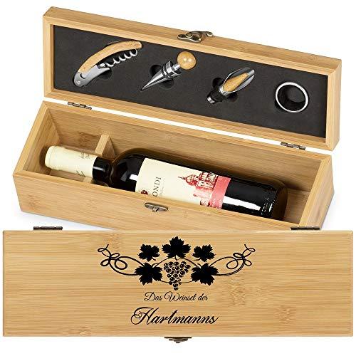 Murrano Weinbox für 0,7L Weinflasche - Wein Holzbox personalisiert + 4er Weinzubehör - Weinset Weinkiste - aus Bambus - Braun - Geschenk zur Hochzeit Paare - Weintraube