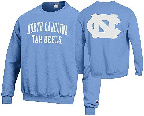 Elite Fan Shop North Carolina Tar Heels Crewneck Sweatshirt Back Light Blue - X-Large
