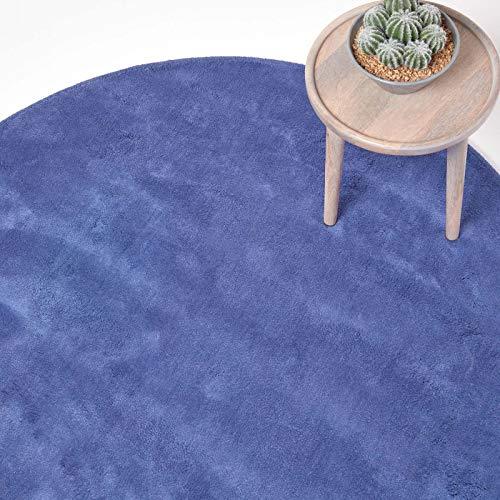 Homescapes runder Kurzflor-Teppich/Bettvorleger, getufteter Baumwollteppich, 70 cm, blau