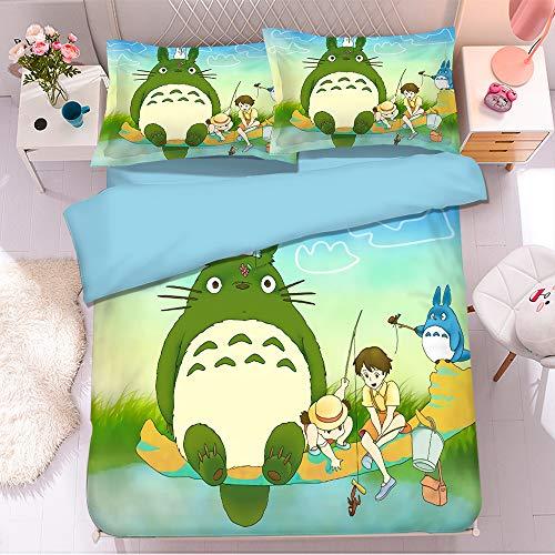 KYNWCLRW Duvet Sets Double Bed, 3D Digital Print Totoro Duvet Set, Premium Polyester-Cotton Soft Smoothduvet Cover And Pillowcase Set, For Teen (220X240Cm)