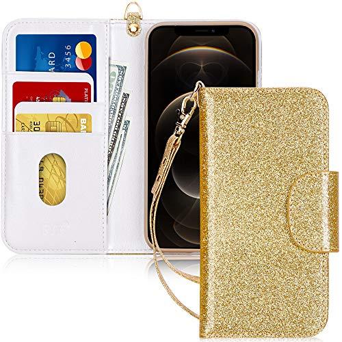 """Fyy - Custodia a portafoglio per iPhone 12 Max/12 Pro, realizzata a mano, in pelle sintetica, antiurto, con porta carte di credito e tasca per banconote, per Apple iPhone 12 Max/12 Pro da 15,6"""", colore: Oro"""