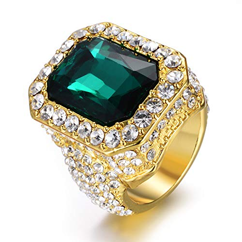 Alloy Stainless Steel Zircon Iced Out Rings for Men Hip Hop Pinky Ruby Ring Men/Women
