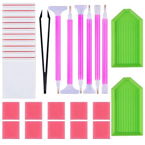 Novelfun 29pcs 5D DIY Diamond Painting Tools Kits Accessories Cross Stitch Fit,Embroidery Point Pens,Diamond Art Tool Sets Including Diamond Stitch Pens,Tweezer,Glue,Plastic Trays for Adult Art Craft