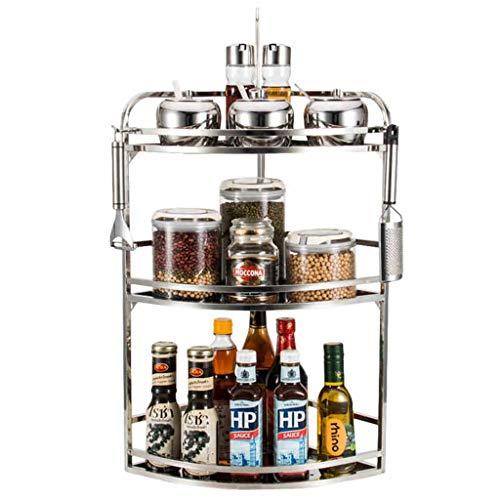 Petit organisateur de support à épices pour armoire à 3 niveaux, support de rangement pour bouteilles de condiments en acier inoxydable, étagère de coin