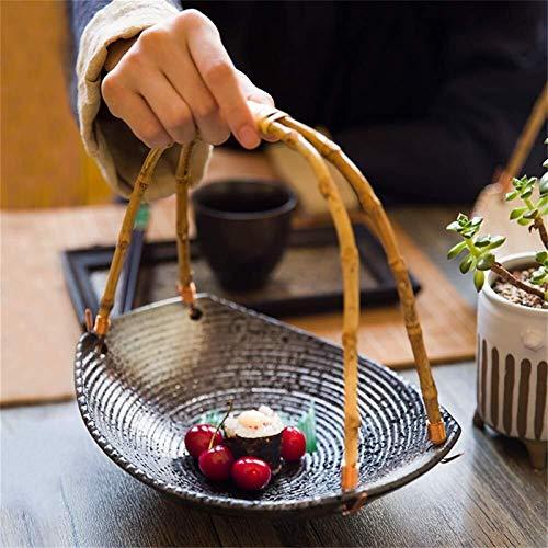 JUNYYANG Personalidad Creativa Estilo japonés de cerámica Vajilla Plato Sushi Bandeja Snack-Restaurante y Hotel y del hogar de bambú Mango Colgar la Placa de la Cesta de Fruta
