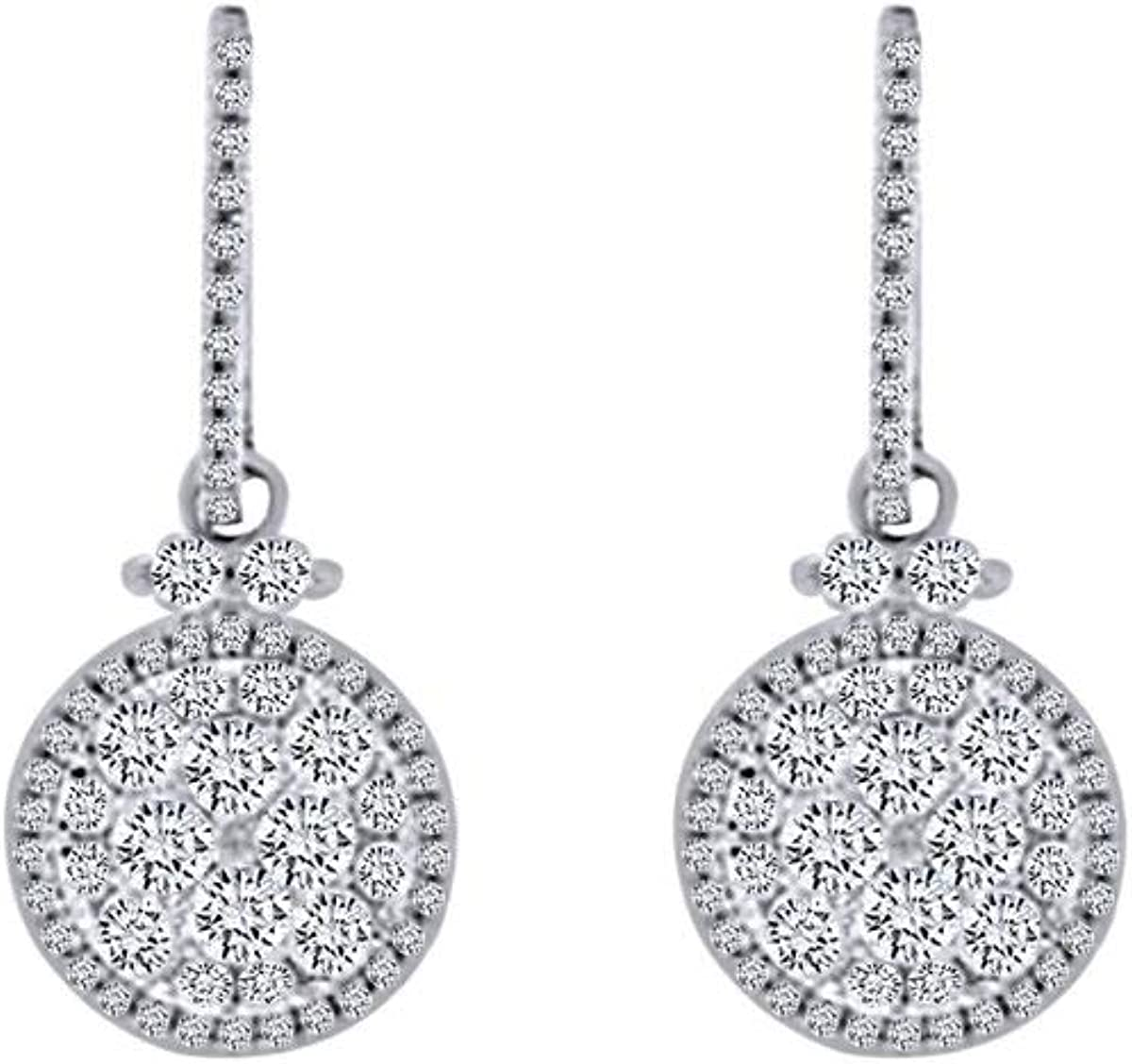2 Cttw Round Cut White Natural 14K Diamond Earrings In So Dangle Long-awaited 100% quality warranty