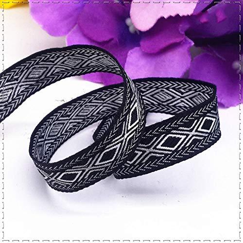 KTUCN Ribbon Silk Satin Roll - 1cm(1 meter/lot) ruit Geometrie grosgrain lint Geweven Jacquard Ribbon DIY Kleding hoeden accessoires decoratie benodigdheden, Zwart
