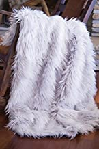 North End Decor Faux Fur, Mongolian Long Hair Silver Throw Blankets, 50x60 Large, Grey