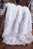 North End Decor Faux Fur, Mongolian Long Hair Silver Throw Blankets, 50x60 Large, Grey