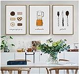 ZAWAGULeinwand Wandkunst Leinwand Dekoration Kuchen Gebäck Keks Messer dekorative Wandkunst Leinwand Malerei Poster Home Dekoration für Wohnzimmer ungerahmt 3 Stück Set