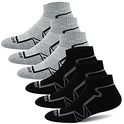BERING Men's Performance Ankle Running Socks (6 Pack)