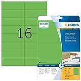 HERMA Etichette per Marcatura, 105 x 37 mm, Etichette Adesive A4 per Stampante, 16 Etichette per Foglio, Verde