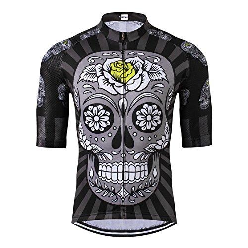 Shenshan - Camiseta de ciclismo para hombre, camiseta de ciclismo de carreras, verano, MTB, ropa de manga corta, camiseta deportiva, transpirable, gris, negro, talla L