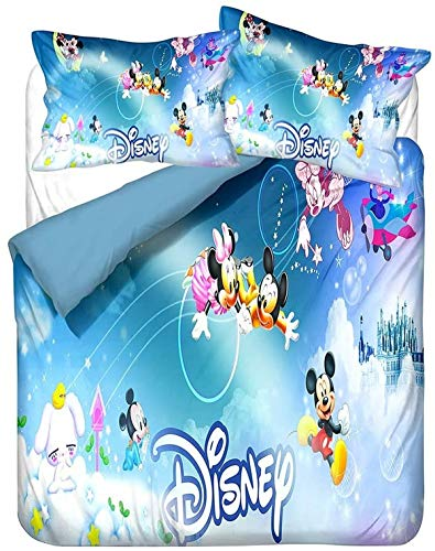 QWAS Mickey Minnie Mickey Mouse - Juego de ropa de cama de Disney con dibujos animados 3D, microfibra suave, 1 funda nórdica y 2 fundas de almohada (L5,200 x 200 cm + 50 x 75 cm x 2)