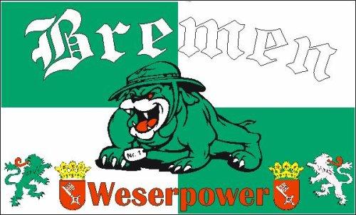 Bremen Bulldogge Fussball Fahne Flagge Grösse 1,50 x 0,90m - FRIP –Versand®