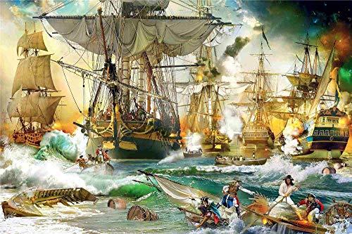 Bdgjln Puzzle 1000 Piezas-Batalla naval-paraAdultosRompecabezasdePiso-50x75cm