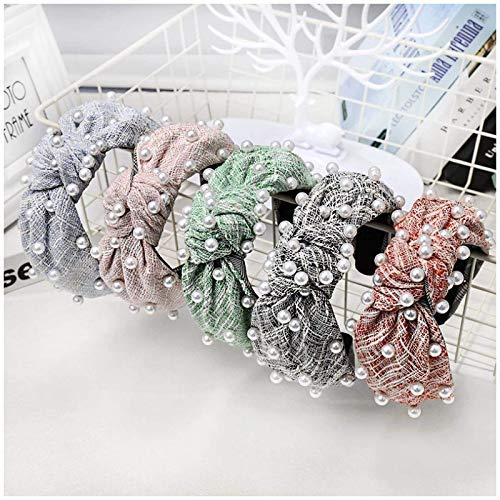 YXFYXF Plaid Woolen Perlenknoten Stirnbänder Für Frauen Korea Haarschmuck Weite Haarband Krone Blume Haarbänder Kopf Wrap 5 stücke