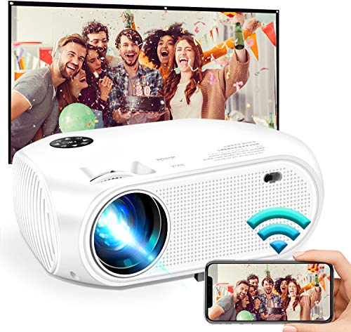 "Wireless WiFi Mini Video Projector 5000L,2021 Updated WEILIANTE HD Movie Projector, Support Dolby 50,000Hrs, 200"" Display, 1080P, Compatible with Android, iOS, Video Games, TV Stick, Laptops"
