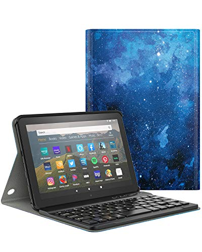 Dadanism Keyboard Case for All-New Kindle Fire HD 8 Tablet(10th Gen 2020 Release) and Fire HD 8 Plus 2020 Release, Detachable Wireless Keyboard Standing, PU Leather Cover Case - Blue Sky Star
