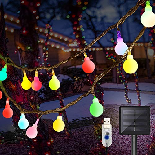 DeepDream 36Ft/11M 60 LED Christmas Decoration Lights, Solar/USB Powered String Lights,8 Modes Fairy Lights Indoor Outdoor Waterproof for Christmas Wedding Party Bedroom Valentine's Day Garden