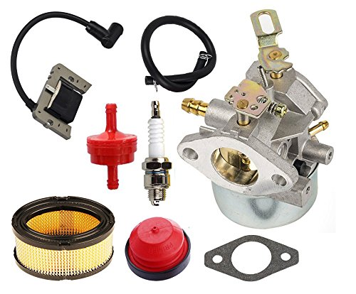 HIFROM 640349 640052 640054 Carburetor Kit with Ignition Coil Air Fuel Filter Replacement for Tecumseh 8HP 9HP 10HP HMSK80 HMSK90 LH318SA LH358SA