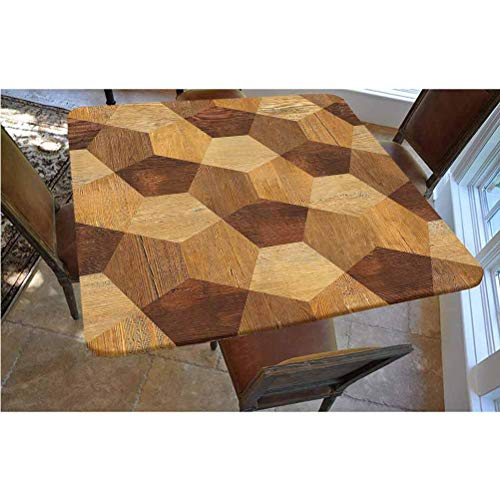 Retro Polyester Fitted Tablecloth,Abstract Parquet Flooring Wooden Rustic with Geometric Monochrome Pattern Square Elastic Edge Fitted Table Cover,Fits Square Tables 48x48 Brown Light Brown