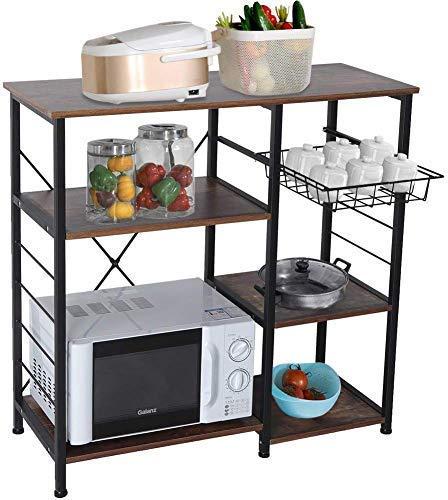Estante de cocina N/A para microondas, estante de metal, estante de cocina, diseño industrial, con cesta de alambre y ganchos, estante de almacenamiento para cocina, ahorro de espacio