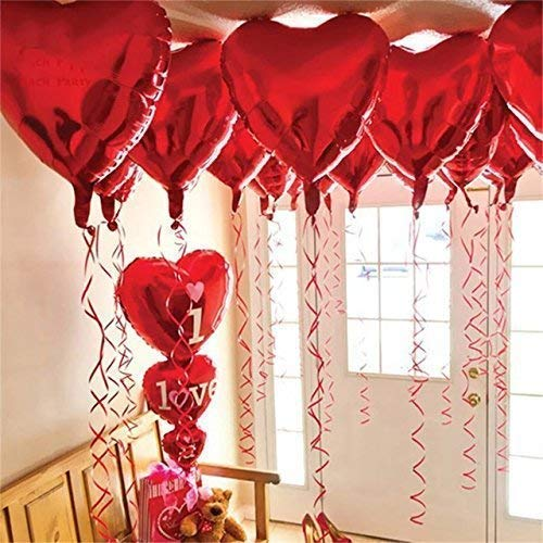 12 + 1 Red Heart Shaped Balloons - 1 I Love U Balloon - Helium Supported - Love Balloons -...