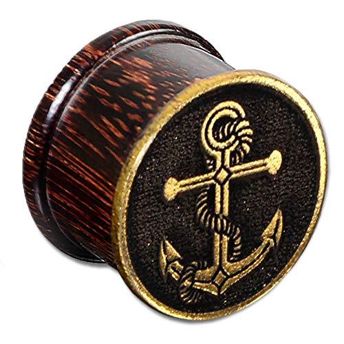 viva-adorno 1 Stück Plug Flesh Tunnel Holz Marine Anker Gold Handbemalt Ohr Piercing 10-16mm Z511.D7, 16mm