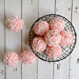 idyllic 9pcs Rose Flower Foam Kissing Balls for Bridal Wedding Centerpiece Party Ceremony Decoration 3.5 Inches (Peachy Pink)