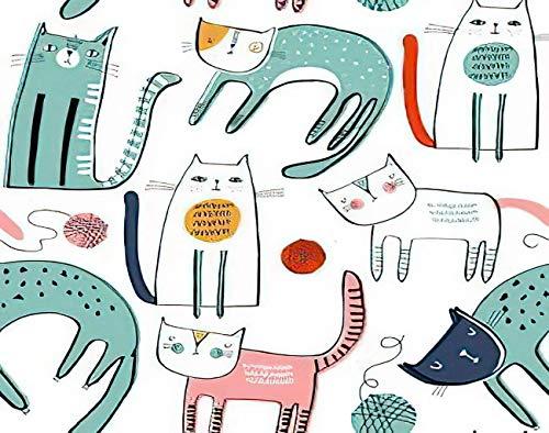 Y·JIANG Pintura de gato por números, lindos gatos DIY lienzo acrílico pintura al óleo por números para adultos niños decoración de pared del hogar, 40,6 x 50,8 cm