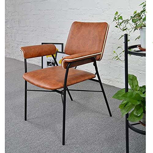 YANJ Gaststuhl mit Rückenlehne, Schwarze Metallbeine, orange Lederrückenlehne und Sitzlounge-Stuhl für Schlafzimmerkommode