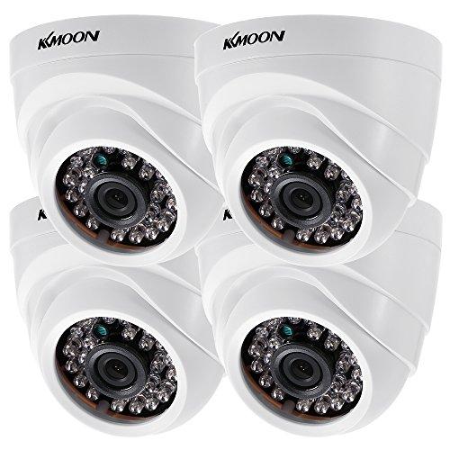 KKmoon 4 * 1080P 2000TVL AHD Domo IR CCTV Cámara + 4 * 60 ft Monitoreo Cable Soporte Infrarrojos Night Vision 24pcs lámparas Infrarrojos 1/2,9 Pulgadas CMOS para la Seguridad en casa