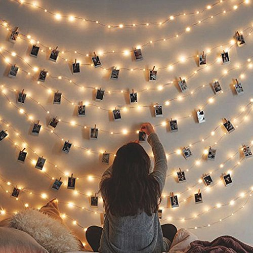 Image of the Besteamer Photo Clips Lights, Fairy 30 LED lights battery operated Dorm Lighting Hanging Artwork Photos Memos Paintings bedroom, dorm, home décor (Warm White, picture photo string lights)