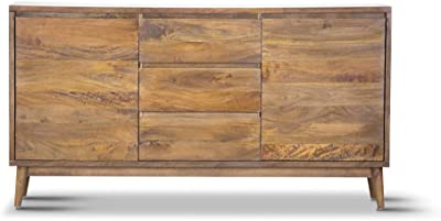 Harmony Side Board 2 Door & 3 Drawers Solid Frame Structure Mango Wood Wooden Timber - Light Oak