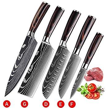 Soffiya Kitchen Knife Sets 5 piece Chef Knives Santoku Cleaver Paring Stainless Steel Pakkawood Handle for Vegetable Meat Fruit