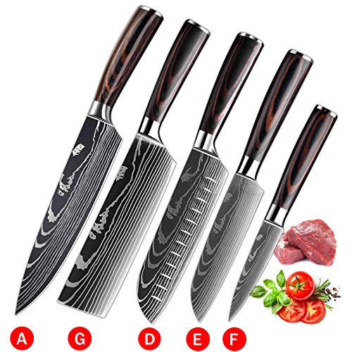 Soffiya Kitchen Knife Sets 5 piece, Chef Knives Santoku Cleaver Paring Stainless Steel, Pakkawood Handle for Vegetable Meat Fruit
