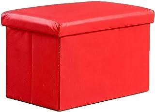 XBCDX Cube Faux Cuir Ottoman Tabouret De Pied De Rangement Pouf Banquette, Pliable Jouet Organisateur Boîte Pouf Chest Sea...