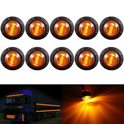 """KaTur 3/4 """"runde LED Vorne Hinten Seitenmarkierungsanzeigen Licht Wasserdichte Kugel Abstand Licht 12 V für Auto Lkw (Bernstein)"""