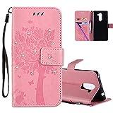 COTDINFOR Huawei Honor 6X Hülle für Mädchen Elegant Retro Premium PU Lederhülle Handy Tasche mit Magnet Standfunktion Schutz Etui für Huawei Honor 6X Pink Wishing Tree with Diamond KT.