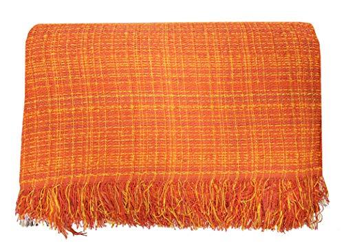 ADP Home - Plaid/Colcha Multiusos Jaspeado Ideal para Cama o Sofá (Medida: 230X260 cm), Naranja