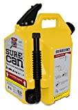 Surecan 5 Gallon Self Venting Diesel Fuel Can Container with 180 Degree Rotating Nozzle, Thumb Trigger Flow Control, & Child Safe Fill Cap, Yellow