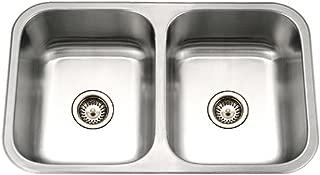 Houzer MGD-3120-1 Medallion Gourmet Series Undermount Stainless Steel 50/50 Double Bowl Kitchen Sink