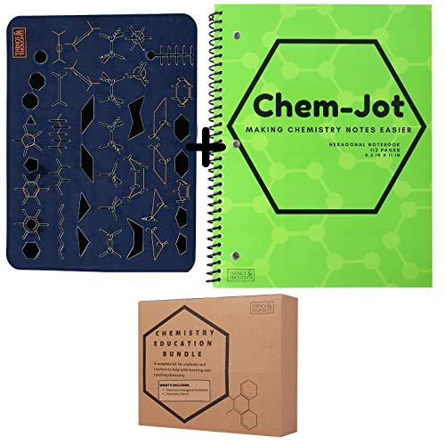 Hexagonal Graph Paper Notebook, Composition Workbook for Organic Chemistry and BioChemistry, 5 Hexagon Shapes Per Square, Plus a Structure Stencil Template